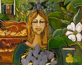 New Orleans Goddess with Chickens Original Painting-- Counting Her Chickens as They Hatch