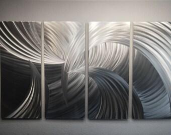 """Metal Wall Art Decor Aluminum Abstract Contemporary Modern Sculpture Hanging Zen Textured - Tempest 36"""" Silver"""