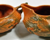 Vintage - Antique Roseville Creamer and Sugar Server - Collectible Pottery - Collectible Roseville - Tableware