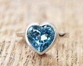 Heart ring  - london blu topaz - gemstone open back pattern - made to order