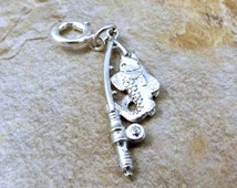 Pewter Fish on Fishing Pole Charm on Spring Ring- Fits European and Link Charm Bracelets - 0206