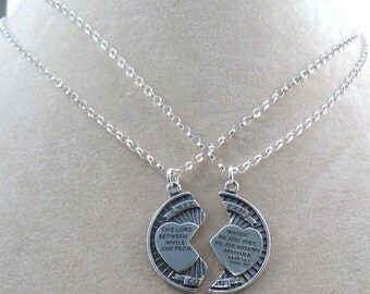 2 Sterling Silver Necklaces - Sterling Silver MIZPAH Pendants on Sterling Silver Rolo Chain Necklaces - 1888