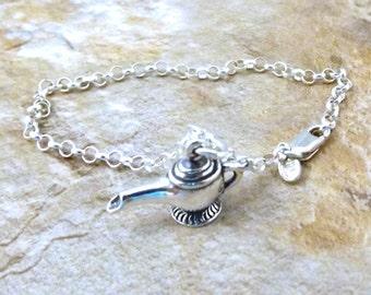 Sterling Silver Genie Lamp Charm on a Sterling Silver 3mm Rolo Bracelet - 2933