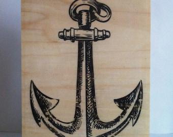 Marine anchor Wood printing.