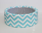"""12"""" Modern, Self Warming Cat Bed in Blue and White Chevron"""