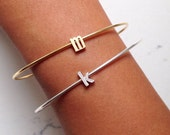 initial bracelet // silver or gold // letter // alphabet // personalized