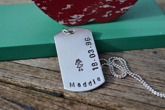 Hand Stamped mens dog tags personalised pendant necklace sterling silver UK father dad