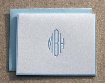 Custom Letterpress Monogram Folded Cards