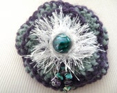 Brooch ooak crochet purple and aqua pin