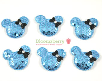 """1.5"""" Sequin Minnie Mouse with Bows Padded - Blue Color - Blue Sequin Mickey Padded -Halloween/Fall -  Hair Accessories Supplies"""