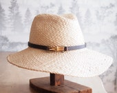 June:  Doubled natural raffia trilby crown with floppy brim and bamboo finding with chocolate leather trim