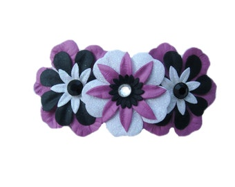 Easter Hair Accessory, Flower Hair Barrette, French Barrette, Flower Hair Clip, Teen Hair Clip, Adult Hair Accessory, Large Purple Barrette