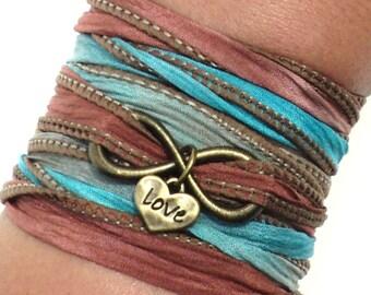 Infinity Love Silk Wrap Bracelet Yoga Jewelry Eternity Forever Heart Anniversary Wedding Bridesmaid Yogi Gift For Her Christmas M85