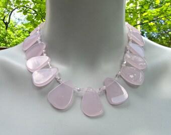 Chunky Quartz Statement Necklace, Natural Rose Quartz Flat Slabs, Quartz Bib Necklace, Colour of the Year   062