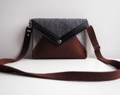Geometric Brown Gray Black Wool Felt Genuine Leather Messenger Crossbody Bag - FancyfeltShop