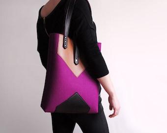 Purple Sienna Brown Black Wool Felt Genuine Leather Tote Bag