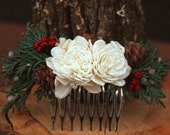 Rustic Winter Wedding Hair Comb, Winter Wedding Hair Accessory, Sola Flowers, Juniper and Pinecone Hair Accessory, Holiday Wedding Hair Comb