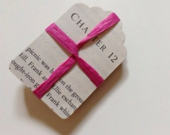50 paper tag from an old book, 5 x 7 cm