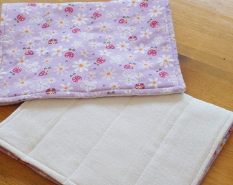 Burp Cloths Lavender Daisy Lady Bug Set of 2 Burpiesfor Baby Girl Purple Flannel Lilac Baby Room Nature Inspired Nursery Baby Shower Gift