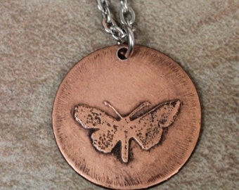 Etched copper butterfly necklace