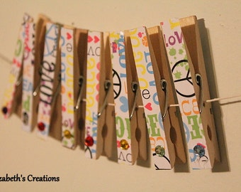 Closthesline Clothespin Photo Hanging Kit FREE SHIPPING Peace Love Hippie  With Gems