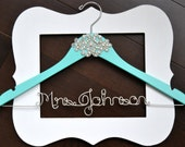 Custom Something Blue Wedding Dress Hanger with Couture RHINESTONE Applique