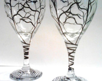 Haunted Halloween Hand Painted Wine Glasses