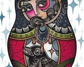 "Baby Crow & Russain Doll - A4 (8x11"") Tattoo Flash Fine Art Print"