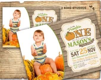 1st birthday invitation - first birthday pumpkin invitation - First birthday party invitation - rustic first birthday invitation - printable