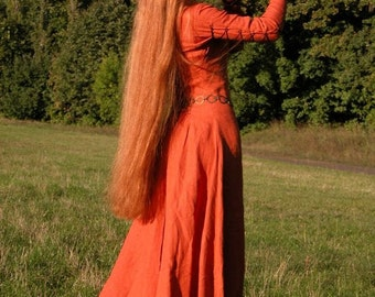 """25% DISCOUNT! In Stock! Ready to ship! Fixed Sizes! Medieval Long Linen Dress Tunic """"Red Elise"""""""