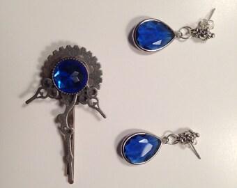 Steampunk Hair Pin Whovian Blue