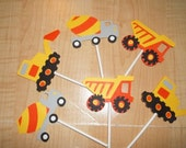 12 Pcs Construction Truck Cupcake Toppers Set  -  Made To Order