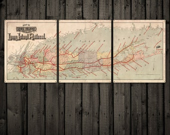 "Vintage Long Island METAL Map Triptych 60x24"" FREE SHIPPING"
