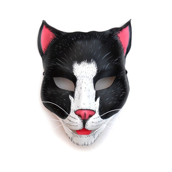 Cat Mask Halloween Leather Masks Kitty Feline Black White Pink Whiskers Carnival Animal Pet Children Adult Party Masquerade Mardi Gras