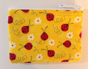 Yellow Ladybug Coin Purse - Coin Bag - Pouch - Accessory - Gift