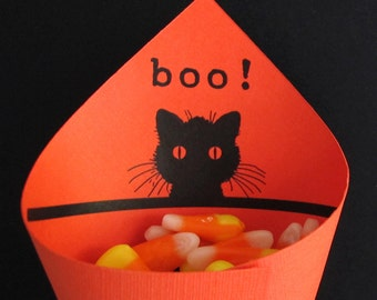 Print and Cut Halloween Candy Cone Template Black Boo Cat Digital Image Download Treat Bags Party Favor Candy Box