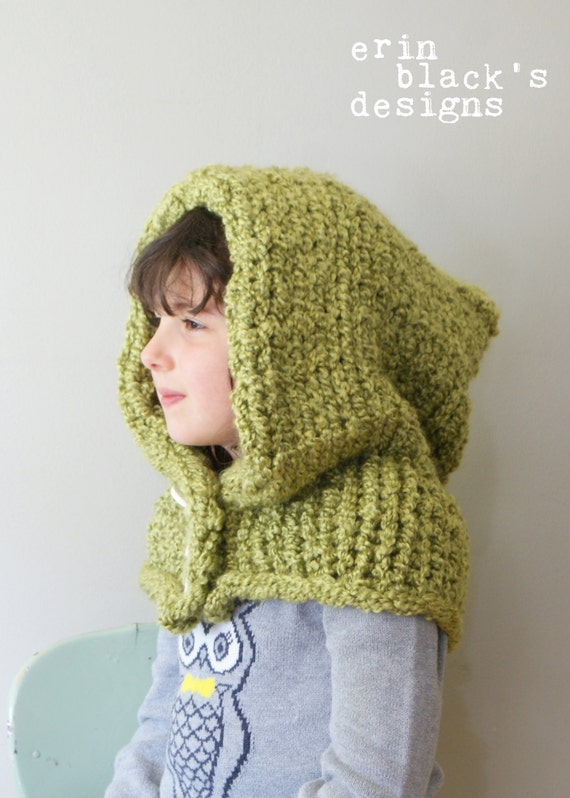 Childrens Hood Knitting Pattern : DIY Knitting PATTERN Chunky Knit Hood in Toddler Child and