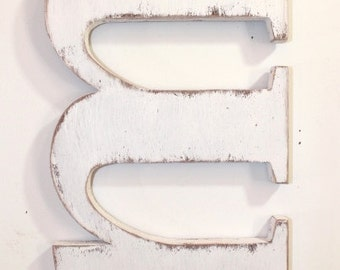 """Wooden letter m"""" lower case, alphabet letters, 12 inch, wall hanging, nursery decor, vintage, rustic, cottage chic, painted Vintage White"""