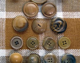 Vintage Brown Tone Plastic Buttons, set of 21