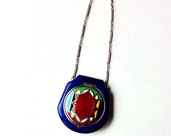Vintage enamel compact, colorful Art Deco style, with chain