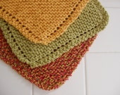 The Maple Leaf Rags,Set of three Handknit Cotton Dishcloths,Autumn,Thanksgiving,Fall Gift Ideas,Gift Set,October,Hand knitted,Wash Cloths