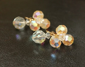 Vintage 50's Aurora Borealis Crystal Clear Clip-on Earrings Dangle Irridescent