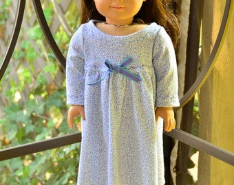 American Girl Style nightgown in a dainty floral print in lavender and aqua with matching slippers
