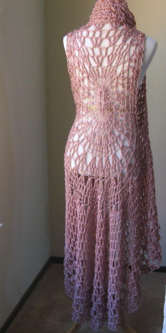 Marcie PINK LONG Bohemian VEST Crochet Maxi Vest Cardigan