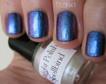 Spellbind Duochrome Shimmer Blue Violet Effect Top Coat Nail Lacquer Indie Starlight and Sparkles Polish