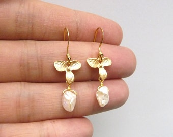 A orchid dangle earrings with indefinite fresh water pearl drop, Wedding jewelry. Christmas gift.