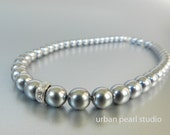 Dark Gray Pearl Necklace, Bridesmaid Jewelry, Single Strand Pearl Bridal Necklace, Wedding Jewelry on Etsy