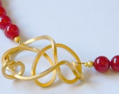 Red gemstone necklace, red stone necklace gold plated motif, ruby red jade necklace, burgundy jade earrings, Christmas gift, ubder 45 50 60. - craftysou