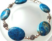 Crazy Lace Agate Bracelet, Beaded Jewlery, Blue Agate Gemstone Jewelry, Large Gemstone Bracelet