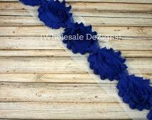 Royal Blue Shabby Chic Chiffon Flowers - One Yard Wholesale Lot Frayed Vintage Rosettes - 1 Yard